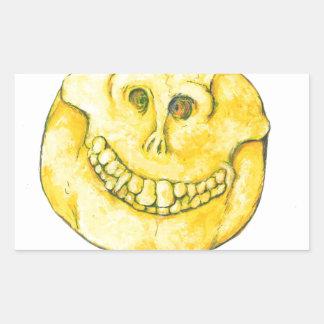 Smiley Face Skull Rectangular Sticker