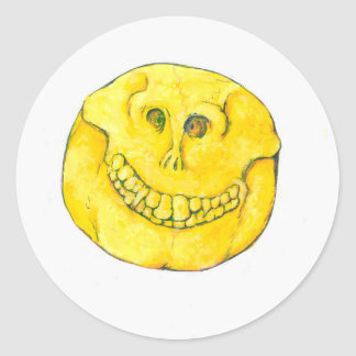 Smiley Face Skull Round Sticker