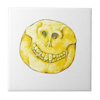 Smiley Face Skull Small Square Tile