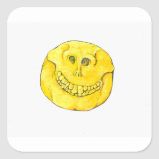 Smiley Face Skull Square Sticker