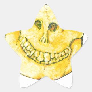 Smiley Face Skull Star Sticker