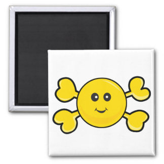 smiley face Skull yellow Crossbones Square Magnet