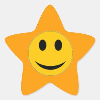 Smiley face star sticker