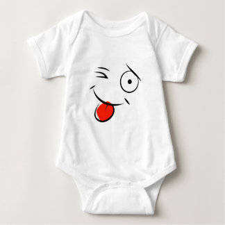 Smiley face sticking tongue out. Raspberry face Baby Bodysuit