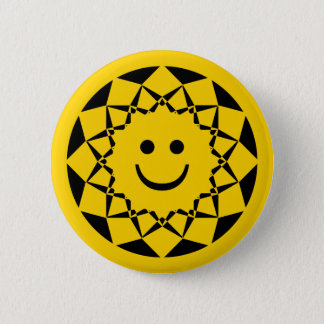 SMILEY FACE SUN 6 CM ROUND BADGE