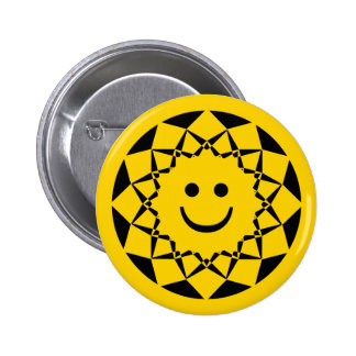 SMILEY FACE SUN 6 CM ROUND BADGE