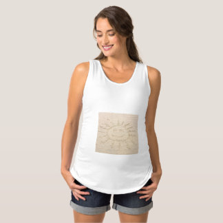 Smiley face sunshine drawing in sand maternity top