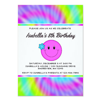 Smiley Face Tie Dye Birthday Invitations