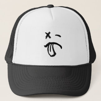 Smiley Face with Black Eye and Tongue Sticking Out Trucker Hat