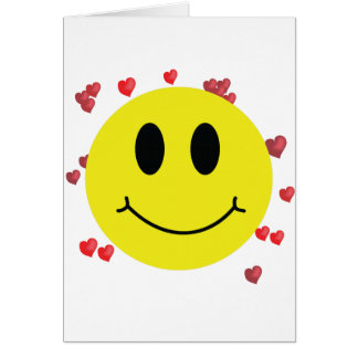 Smiley Face with Red Hearts Card