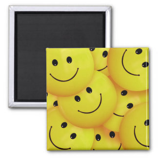 Smiley Faces Everywhere Square Magnet
