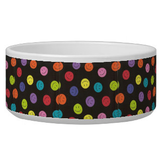 Smiley Faces - Multi-colored Dog Food Bowl