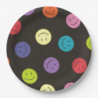 Smiley Faces - Multi-colored Paper Plate