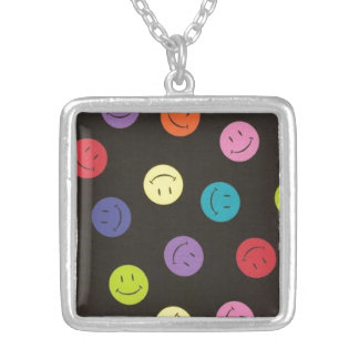 Smiley Faces - Multi-colored Silver Plated Necklace