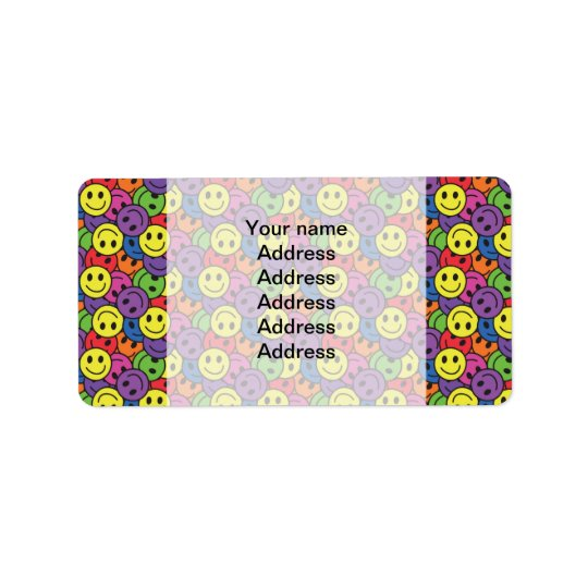 Smiley Faces Retro Hippy Pattern Address Label