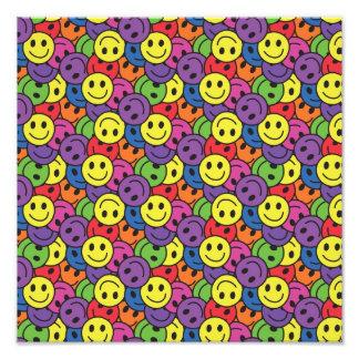Smiley Faces Retro Hippy Pattern Photo Print
