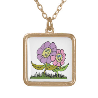 Smiley Flowers Gold Plated Necklace