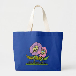 Smiley Flowers Large Tote Bag
