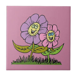 Smiley Flowers Small Square Tile
