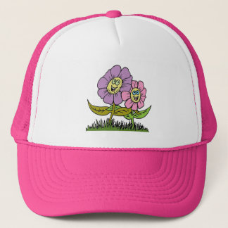 Smiley Flowers Trucker Hat