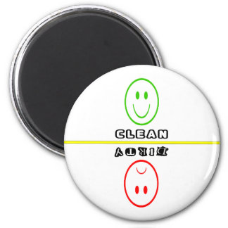 Smiley/Frowny Face Clean/Dirty Dishes- Whi Magnet