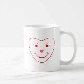 Smiley Heart Face White  Mug