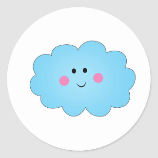 Smiley Kwaii cloud Classic Round Sticker