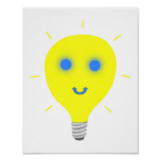 Smiley Light Bulb Wall Posters