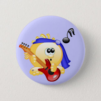 Smiley Music Guitar Player 6 Cm Round Badge
