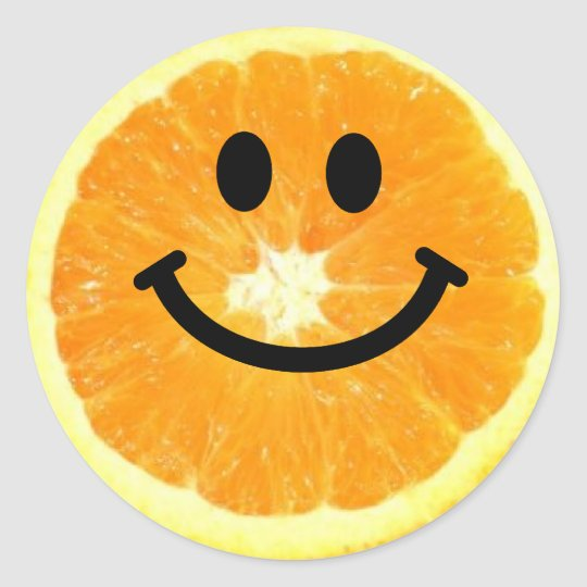 Smiley Orange Slice Round Sticker