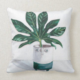 Smiley Planter Pillow with Monstera Leafs