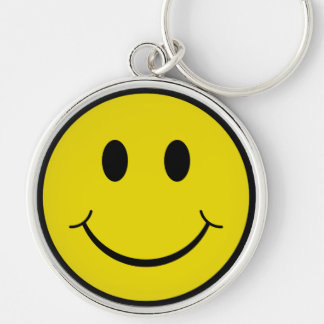 Smiley Silver-Colored Round Key Ring