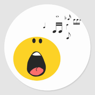 Smiley singing his little heart out round sticker