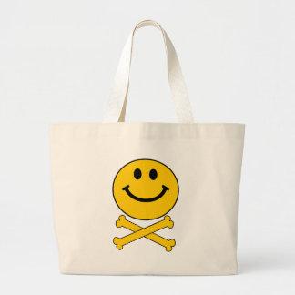 Smiley skull and crossbones tote bag