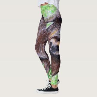 Smiley Sloth Painting Leggings