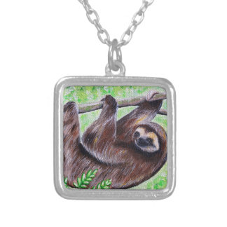 Smiley Sloth Painting Silver Plated Necklace