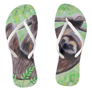 Smiley Sloth Painting Thongs