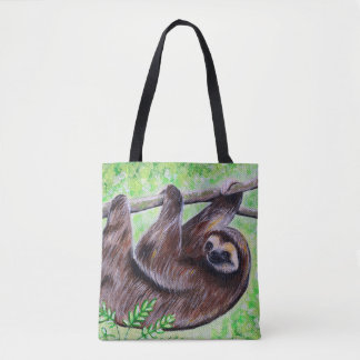 Smiley Sloth Painting Tote Bag