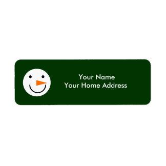 Smiley Snowman on Green Christmas Holiday Winter Return Address Label