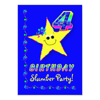 Smiley Star 4th Birthday Slumber Party Invitation