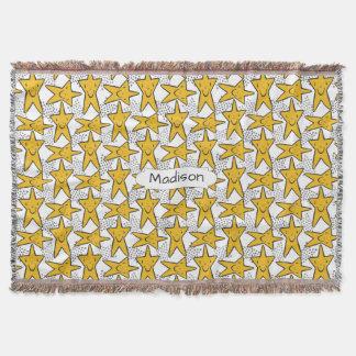 Smiley Stars Pattern custom name throw blanket