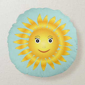Smiley Sun Face Round Pillow
