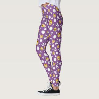 smiley volleyball emojis pattern purple leggings