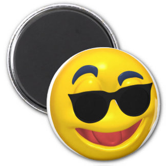 smiley wearing dark sun glasses 6 cm round magnet