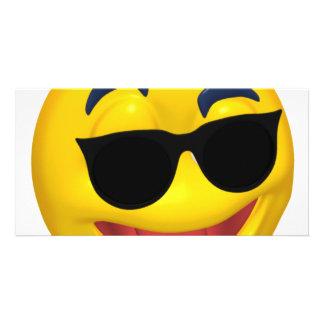 smiley wearing dark sun glasses customized photo card