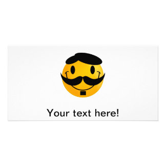Smiley with moustache cartoon photo card
