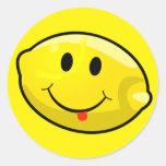Smiley Yellow Lemon Tongue Round Sticker