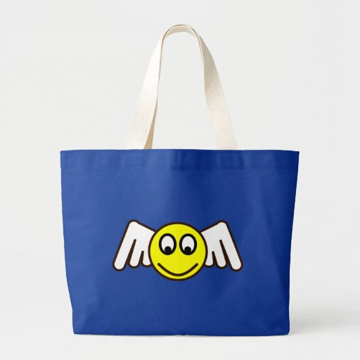Smilie angel smiley fishing rod tote bag