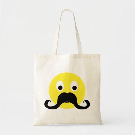 Smilie moustache smiley moustache tote bag