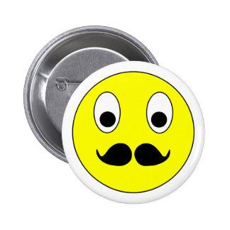 Smilie moustache smiley moustache mustache 6 cm round badge